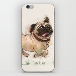 The Furminator pug watercolor like art iPhone Skin