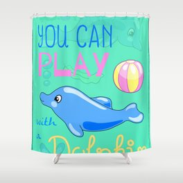 Underwater Cartoon Poster with Dolphin Shower Curtain