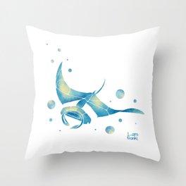 Blue Manta Ray Throw Pillow