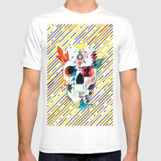 Abstract Skull White MEDIUM Mens Fitted Tee