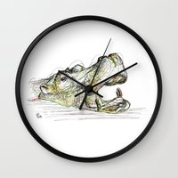 hippo Wall Clocks featuring Hippo by Ursula Rodgers