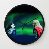 northern lights Wall Clocks featuring Northern Lights by LindaMarieAnson