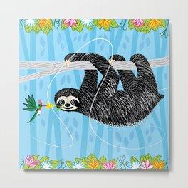 The Sloth and The Hummingbird Metal Print
