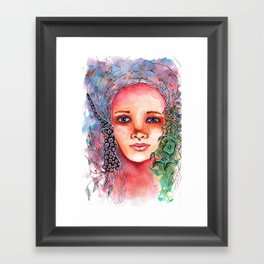 Flower Beauty   Whimsical face with flowers. Floral. Watercolor Framed Art Print