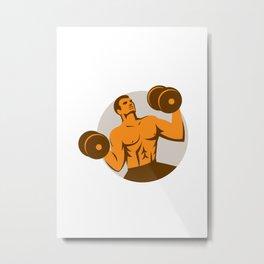 Strongman Crossfit Lifting Dumbbells Circle Retro Metal Print
