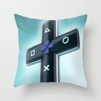 religion Throw Pillows featuring Game religion by Dmitriy Turovskiy (pushok12)