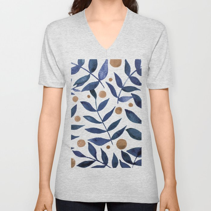 Watercolor berries and branches - indigo and beige Unisex V-Ausschnitt