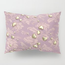 VALENTINE HEARTS - Gold Hearts & Royal Rose Tapestry Pillow Sham