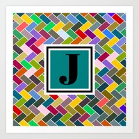 monogram Art Prints featuring J Monogram by mailboxdisco