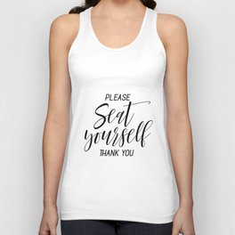 Printable Please Seat Yourself Thank You Wall Art, Funny Bathroom Wall Art Prints Unisex Tank Top