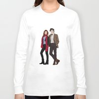 karen hallion Long Sleeve T-shirts featuring Matt Smith as Dr Who and Karen Gillan as Amy Pond by liamgrantfoto