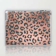 Modern charcoal grey rose gold leopard pattern Laptop & iPad Skin