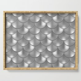 Shiny Silver Mermaid Pattern, Holographic Fish Scale Print Serving Tray
