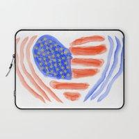 patriotic Laptop Sleeves featuring Patriotic Heart by elledeegee
