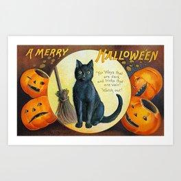 Merry Halloween Black Cat Art Print