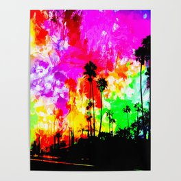 palm tree at the California beach with colorful painting abstract background Poster