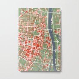 Warsaw city map classic Metal Print