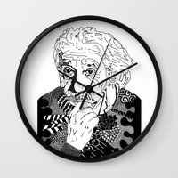 physics Wall Clocks featuring Albert Einstein - black and white by Rebecca Bear
