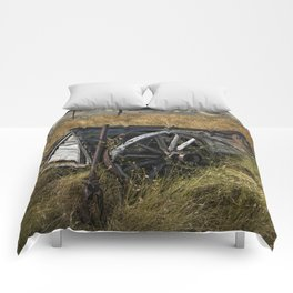 Old Broken Down Wooden Farm Wagon in the Grass Comforters