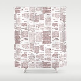 George Washington's Letters // Red Ink Shower Curtain