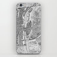 paris map iPhone & iPod Skins featuring Paris map  by Le petit Archiviste