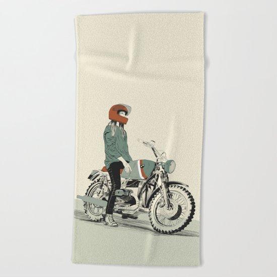 The Woman Rider Beach Towel