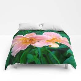 Pink Daylilies Comforters