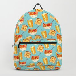 Breakfast Pattern - Blue Backpack