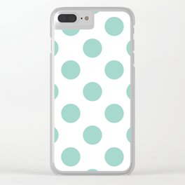 Gone Dotty Spotty - Geometric Orbital Circles In Pale Spring Fresh Green on White Clear iPhone Case