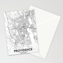 Minimal City Maps - Map Of Providence, Rhode Island, United States Stationery Cards