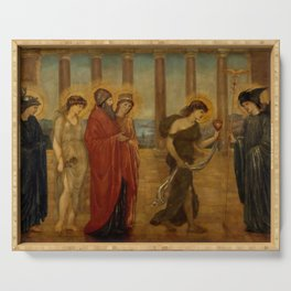 "Edward Burne-Jones ""Cupid and Psyche - Palace Green Murals - Psyche entering the Portals of Olympus"" Serving Tray"