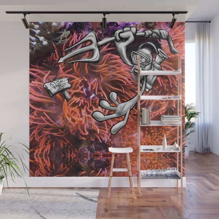 Gone Fishing Orange Royal Stain Wall Mural by royalstain Society6