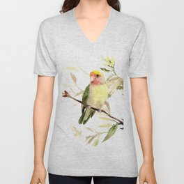 Lovebird, yellow green cute bird artwork Unisex V-Neck