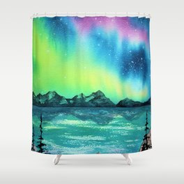 """Northern Lights"" watercolor landscape painting Shower Curtain"