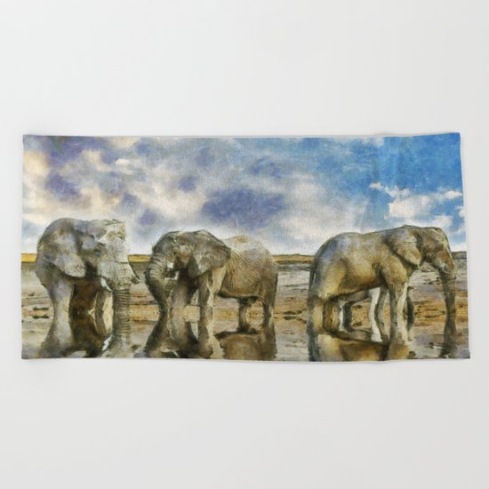 Elephants Drinking Beach Towel