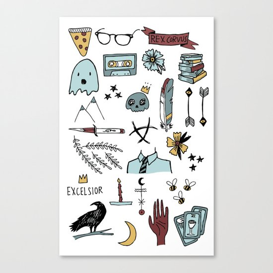ravens doodles white Canvas Print