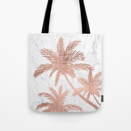 Tropical simple rose gold palm trees white marble Tote Bag