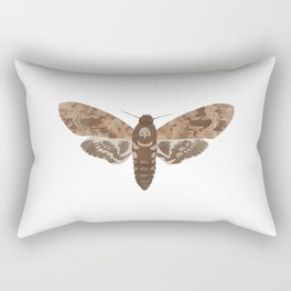 Death's Head Moth Hawkmoth Brown Insect Digital Watercolor Rectangular Pillow