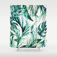 tropical Shower Curtains featuring Green Tropical paradise  by Nikkistrange