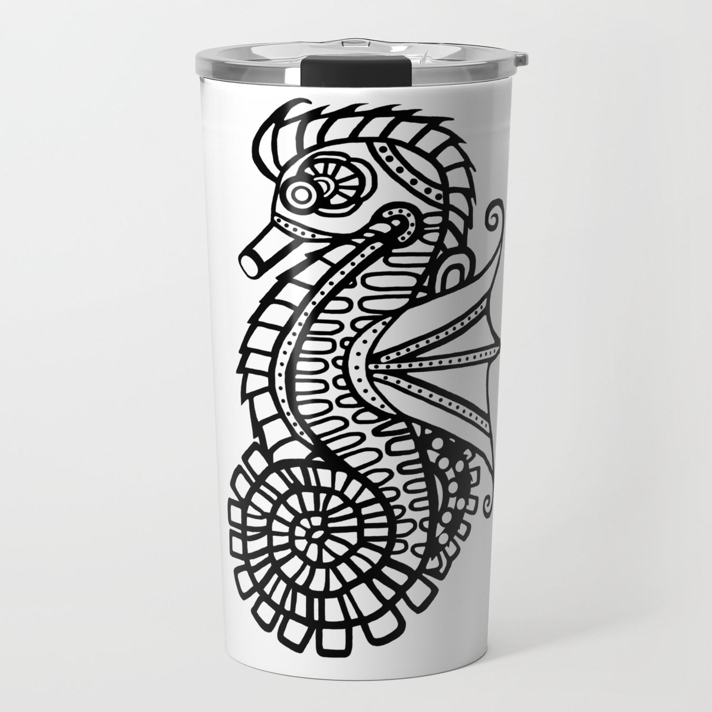 Steampunk Seahorse Stencil Travel Mug By Blakcirclegirl Society6