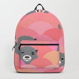 Kawaii grey otters head. Funny pattern, pink waves. Backpack