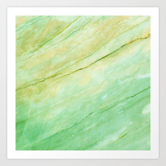 Light green marble Art Print