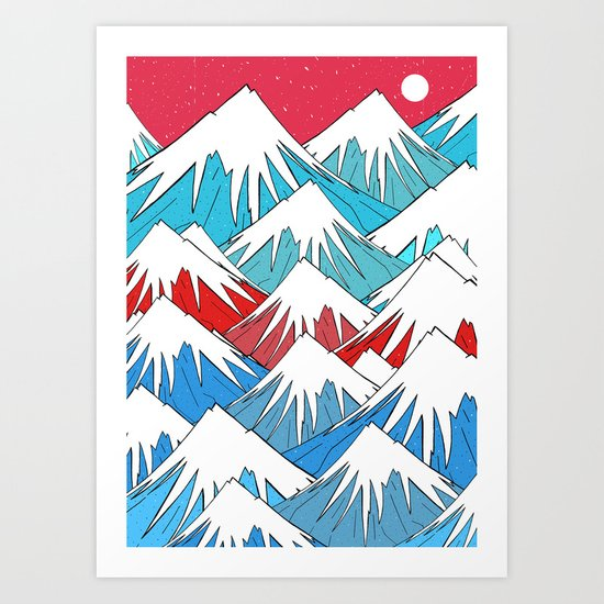 Red Sky Mounts Art Print
