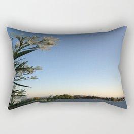 White Flower & Skyline Rectangular Pillow