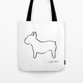 Abstract Frenchie, French Bulldog Dog Line Drawing Tote Bag