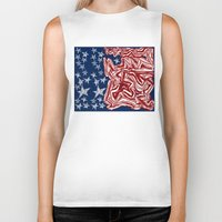 american flag Biker Tanks featuring American Flag by Brontosaurus