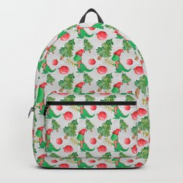 Watercolor Dinosaur with a Christmas Tree Backpack