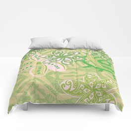 Polynesian Coral Jungle Print Comforters