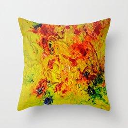 Abstract Yellow Swirls Throw Pillow