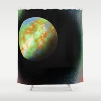 planet Shower Curtains featuring Planet by A Crosshatched World